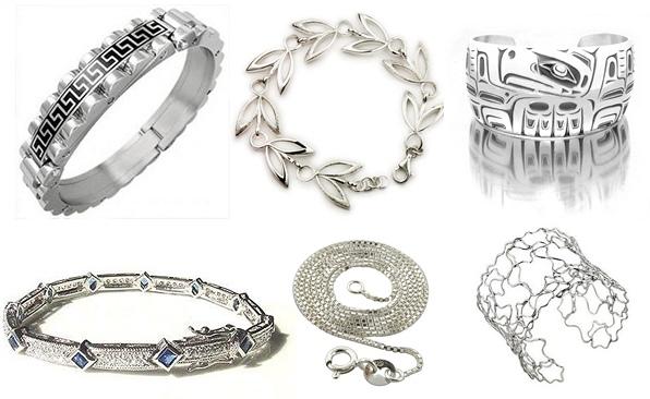 6 серебряных браслетов